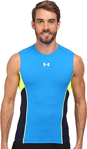 Under Armour Men's UA HeatGear Armour Stretch Sleeveless Compression T-Shirt, Blue Jet/Midnight Navy, Large