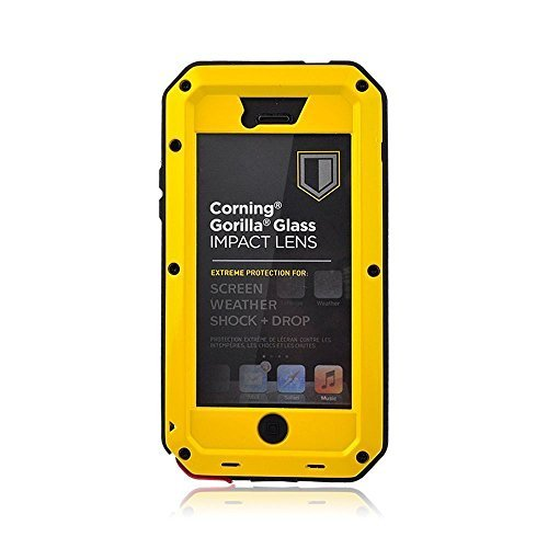 iPhone 5C Case,Gorilla Glass Luxury Aluminum Alloy Protective Metal Extreme Shockproof Military Bumper Heavy Duty Cover Shell Case Skin Protector for Apple iPhone 5C (Yellw)