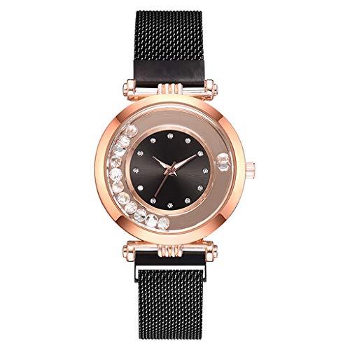 Londony◈ Women's Diamond Shining Bling Starry Sky Magnetic Buckle Bracelet Crystal Magnetic Mesh Belt Quartz Watches ()