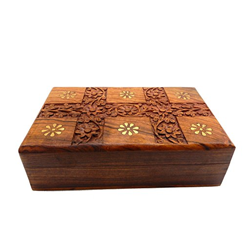 Wooden Jewelry Box for Women Earring, Bangles Organizer Storage Box with Carving Design Keepsake Box for Girls