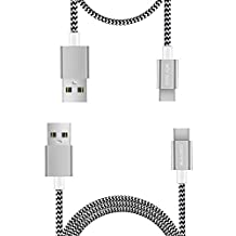 USB Type C Cable 2Pack(0.6ft+3.3ft),TACOO Fast Charge Nylon Braided Durable Phone USB C Cord for Samsung Galaxy Note 8/S8Plus/S8,LG G6/G5/V20,Nexus 5X/6P,Nokia N1 Tablet,Other USB C Device(Grey)