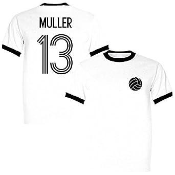 buy popular 513f9 0a179 Thomas Muller 13 Germany Legend Ringer Retro T-Shirt White ...