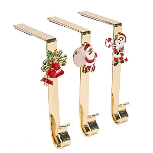 JEKOSEN 2019 Set of 3 Christmas Stocking Holder Hanger Hook Fireplace Gold Plating Hook with Santa Claus and Jingle Bell Holiday Icons Charm Decoration