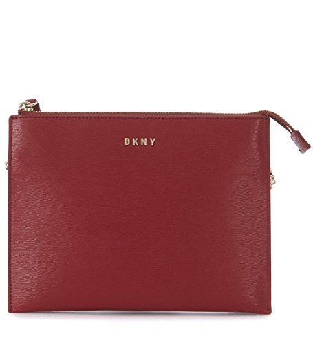 Borsa a tracolla DKNY flat in pelle saffiano rossa