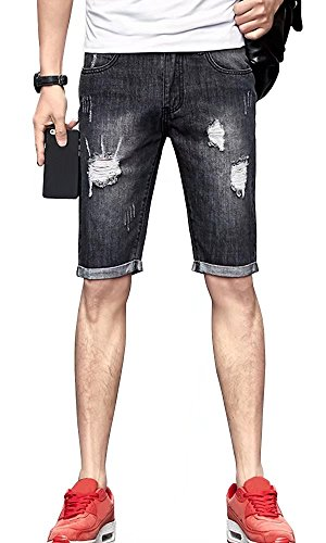 31e00f463cf Men Vintage Ripped Knee High Mid Rise Regular-Fit Beach Denim Jeans Shorts  Black US