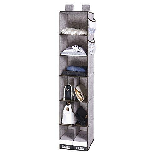 StorageWorks Hanging Closet Organizer with Strong Shelf of Loading, Foldable Hanging Closet Shelves, Gray, 9-Shelf, 12x12x54 inches