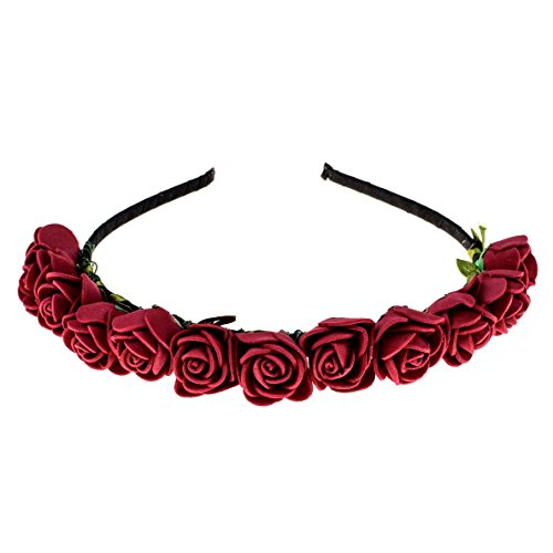 Love Sweety BOHO Floral Crown Rose Flower Headband Hair Wreath (Dark Red) ()