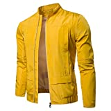 Realdo Mens Outdoor Sport Jacket Big Promotion, Solid Casual Lightweight Breathable Fashion Stand Zip Jacket Top Blouse(2X-Large,Yellow)