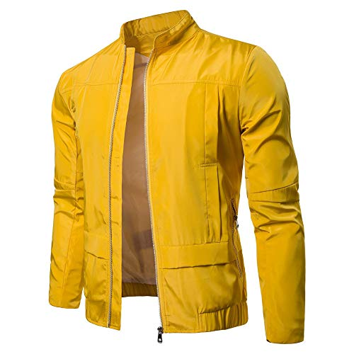 Realdo Mens Outdoor Sport Jacket Big Promotion, Solid Casual Lightweight Breathable Fashion Stand Zip Jacket Top Blouse(X-Large,Yellow)