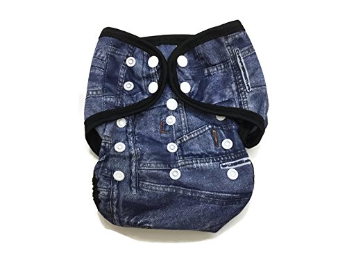 BB2 Baby One Size Printed Black Gussets Snaps Cloth Diaper Cover for Prefolds (One Size, Jeans - Fitted Snappi Diapers