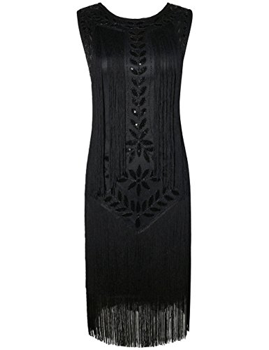 Kayamiya Damen Great Gatsby Kleid 1920er Paillette Quaste Charleston ...