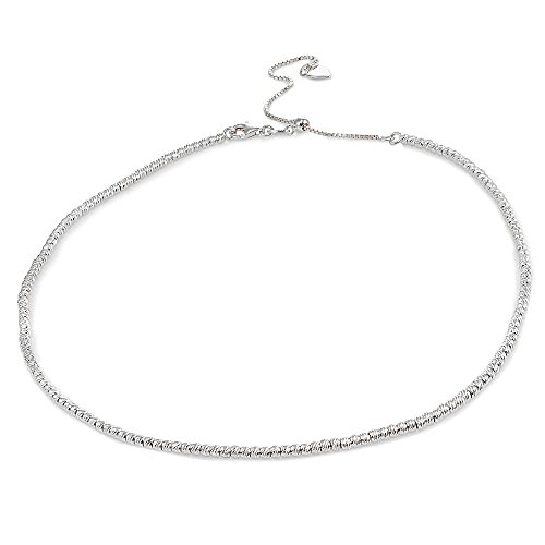 Sterling Silver Diamond-Cut Beads Adjustable Italian Chain Choker Necklace (Star Silver Diamond Sterling Necklace)