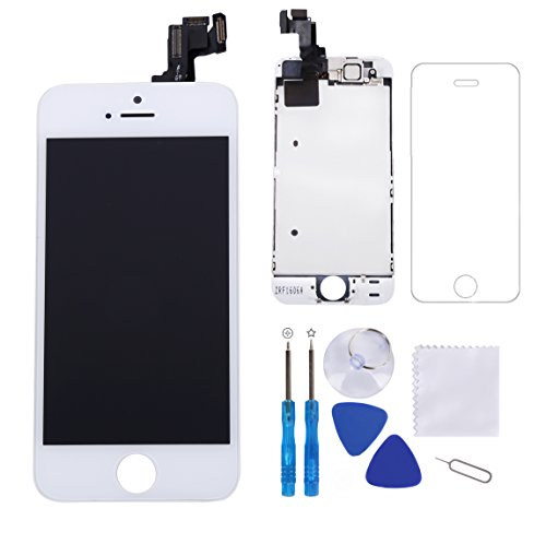 Screen Replacement for iPhone 5S White 4.0 LCD Display Touch Digitizer Frame Full Assembly Repair Kit, with Proximity Sensor, Ear Speaker, Front Camera,Screen Protector, Repair Tools