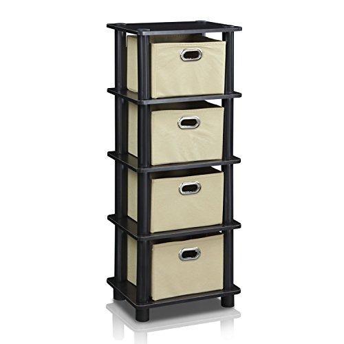 Furinno LACi 4-Bins System Rack, 11.3(W) x 28.8(H) Inch, Espresso/Black (Restroom Drawers)