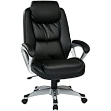 Office Star Executive Eco Leather Chair with Coil Spring Seat, Padded Arms and Silver Coated Base, Black