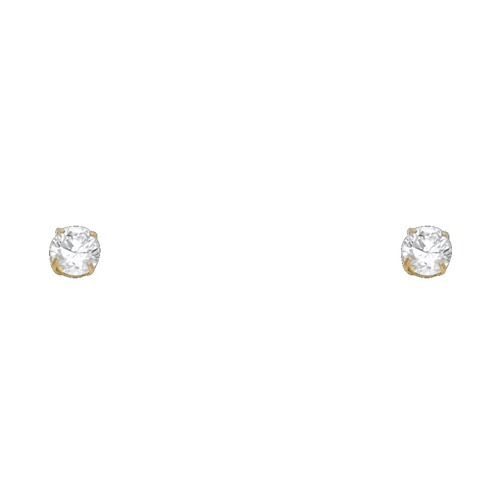 Wellingsale 14K Yellow Gold Polished 4mm Round Solitaire Basket Style Prong Set Stud Earrings With Pushback