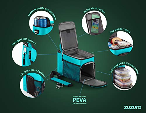 Zuzuro Lunch Bag Insulated Cooler Lunch Box w/ 3 Compartment - Heavy-Duty Fabric, Strong SBS Zippers - Includes 3 Meal Prep Lunch box Containers + 2 Ice Packs. For Men Women Adults (Turquoise) by Zuzuro (Image #2)
