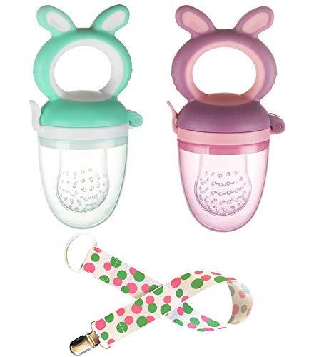 Chupón Alimentador para Bebés de Uso en Alimentos frescos (frutas y papillas) Paquete de 2 Chupones con Clip Incluido!