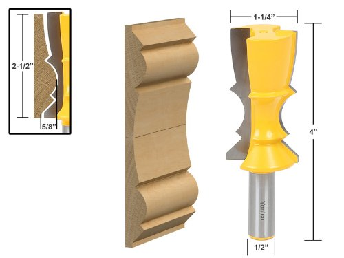 Reversible Crown Molding - Yonico 16150 Large Reversible Crown Molding Router Bit 1/2-Inch Shank