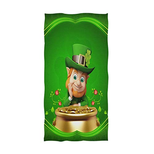Naanle Stylish St. Patrick's Day Cute Leprechaun with Pot of Coins Lucky Shamrock Flowers Pattern Towel Soft Guest Hand Towels for Bathroom, Hotel, Gym and Spa (16