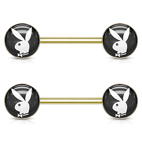 Pierce2GO Pair of Inlaid Barbell Nipple Rings with Playboy Bunny Logo, 14 Gauge - 9/16
