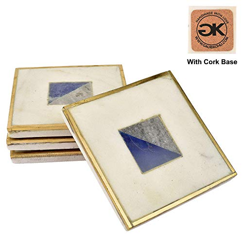 Quartz Grey Trim - GAURI KOHLI Rustic Blue Onyx Marble Coasters with Cork Bottom; Embellished with Gold Trim (Large Size | Set of 4)