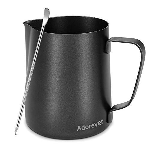 Milk Frothing Pitcher 600ml(20oz) Steaming Pitchers Stainless Steel Milk/Coffee/Cappuccino/Latte Art Barista Steam Pitchers Milk Jug Cup with Decorating Art Pen, Black ()