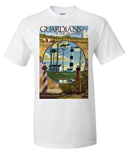 Outer Banks  North Carolina   Guardians Of The Atlantic Lighthouses  White T Shirt X Large