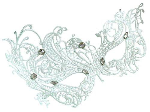 Women's Dance Party Phoenix Half-face White Lace Masks -