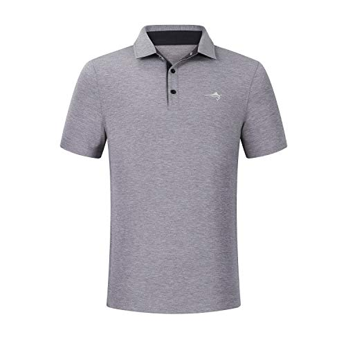 - HELATILA Men's Short-Sleeve Regular-Fit Golf Polo Shirt,Lightweight Breathable and Quick-Dry Fabric, Gray, S
