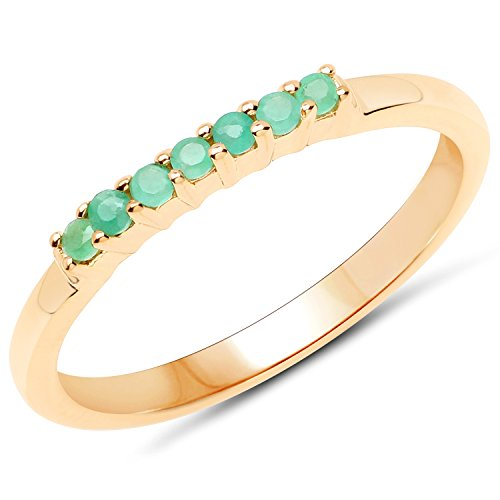 (LoveHuang 0.11 Carats Genuine Emerald Stacking Ring Solid .925 Sterling Silver With 18KT Yellow Gold Plating)