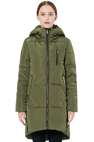 Orolay Women's Stylish Down Jacket Hooded Winter Coat Two-Way Zipper Puffer Jacket