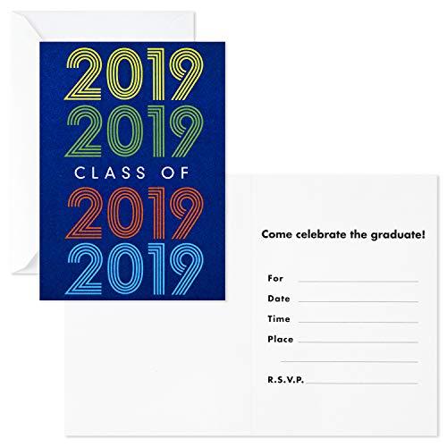 Hallmark Graduation Party Invitations, 20 Invites with Envelopes (Retro Blue, Class of -