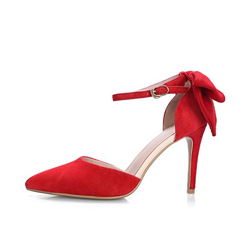 VogueZone009 Women's Pointed Closed Toe Spikes Stilettos Solid Buckle Pumps Shoes Red rrRGUgMYDW