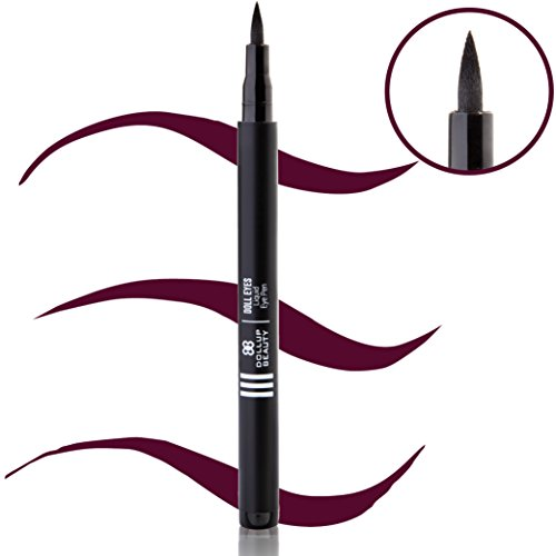 PRESTIGE Doll Eyes Liquid Eyeliner - Skinny Tip Pen PERFECT for Winged Lines, Cat Eyes or Thin Natural Looks. Long Lasting Waterproof Formula. Purple Royal Plum. (Doll Eyes Makeup Tutorial Halloween)