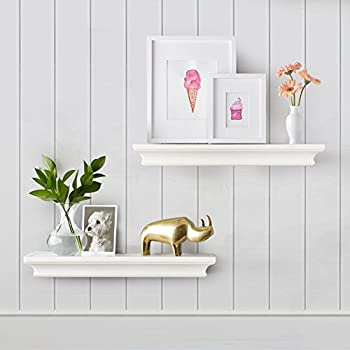 AHDECOR Floating Shelves White, Ledge Wall Shelf, Super Sturdy, Easy to Install (4 Inches Deep, Set of 2 pcs)