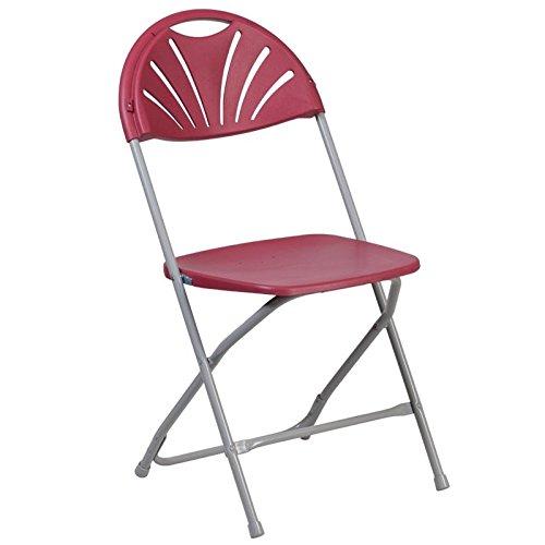 BOWERY HILL Plastic Fan Back Folding Chair in Burgundy ()