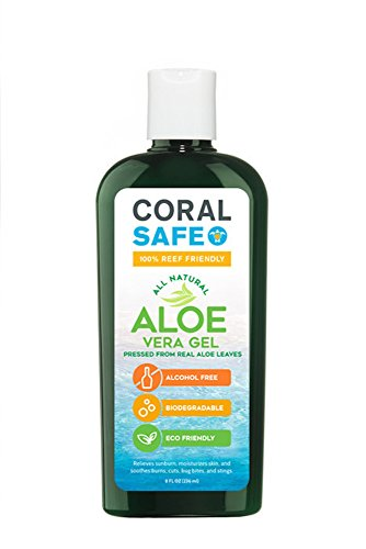 Coral Safe Natural Aloe Vera Gel - Biodegradable and Reef Friendly, 8 fl Oz