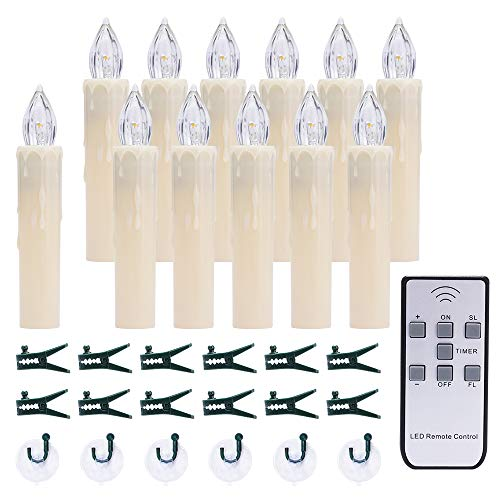 (12 PCS LED Window Candles with Timer and Remote, Battery Operated Taper Candles, Chandelier/Garden/Christmas Tree Decoration, Warm White)