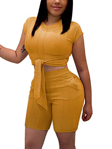 Ladies Short Sleeve Ribbed Crop Top Set Bermuda Shorts Outfit Rompers Yellow L