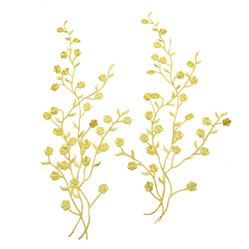 Monrocco 2pcs Golden Flower Leaf Vines Embroidery Applique Patch, Iron on Plum Blossom Flower Patch Flower Motifs