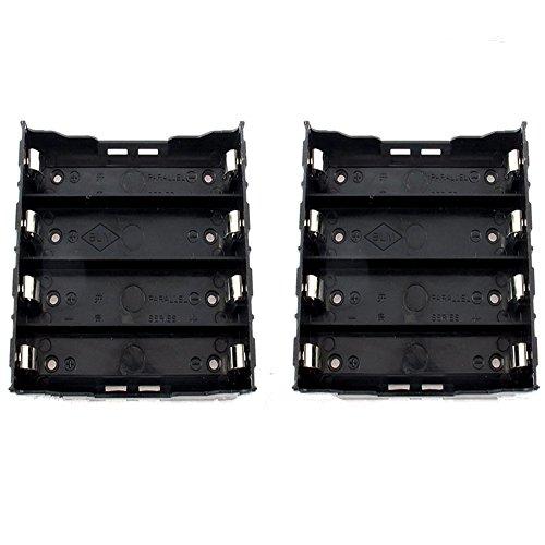GFORTUN 2PCS 4 x3.7V 18650 Batteries Holder 4 Slot in Parallel with 8 Pins for DIY Soldering Battery Holder Case Box Black Plastic