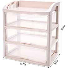 Impr3.Tree Wide 3 Drawer Storage File Box White Frame with Clear Organizer Rack (3 Drawer)