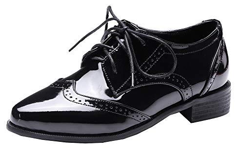 À gmbdb012042 Noir Talon Chaussures Agoolar D'orteil Femme Cuir Bas Pu Légeres Lacet Fermeture PgYq6