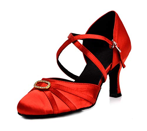 Occasions Bridal Evening Wear - Minishion Women's Rhinestone Ankle Wrap Salsa Tango Latin Dance Shoes Wedding Pumps Red US 6.5