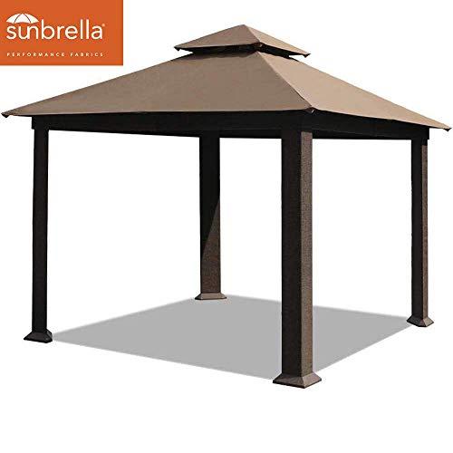 EliteShade 12×12 ft Titan Outdoor Garden Backyard Gazebo with Sunbrella Fabric (Cocoa) For Sale