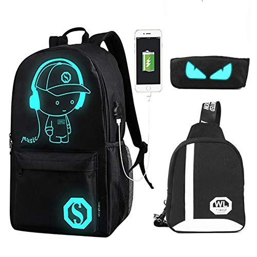 2-FNS 25L Fashion School Bag Laptop Backpack w/Florescent Mark 5 Sets