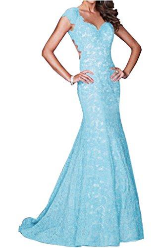 Mermaid Spitze Lang Damen Abendkleid Ruckenfrei Herz Ivydressing Festkleid Promkleid Ausschnitt Himmelblau 54qxS