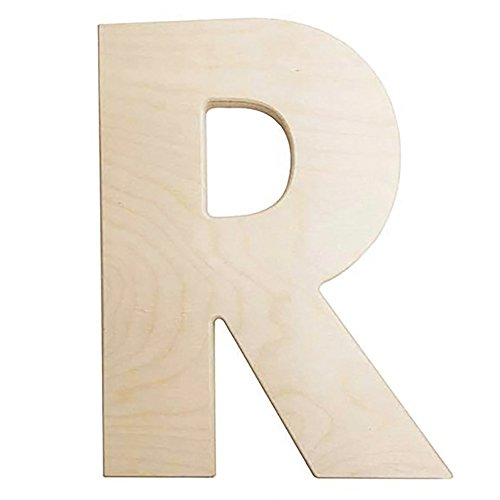 Darice U0993-R Bold Solid Wood Letter, Capital R,