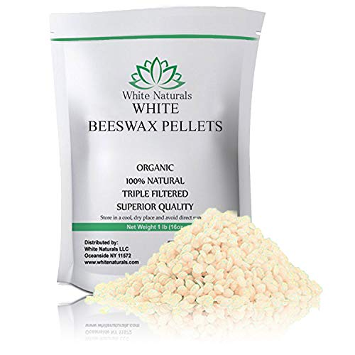 - White Beeswax Pellets 1 lb (16 oz), Pure, Natural, Cosmetic Grade, Top Quality Bees Wax Pastilles, Triple Filtered, Great For DIY Lip Balms, Lotions, Candles By White Naturals
